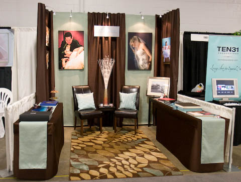 baystate-bridal-exp- Allegro Photography- brown and blue booth at Baystate Bridal Expo