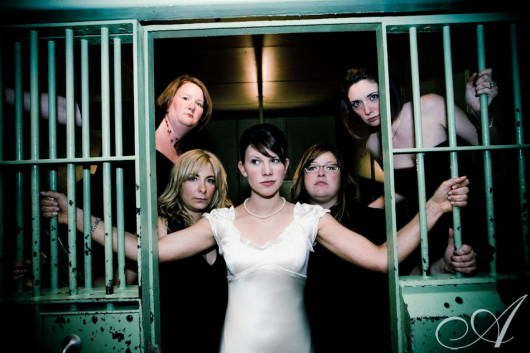 emily-and-erik-wedding-Emily and her ladies in Jail at the Mad Art Gallery- St. Louis, Mo