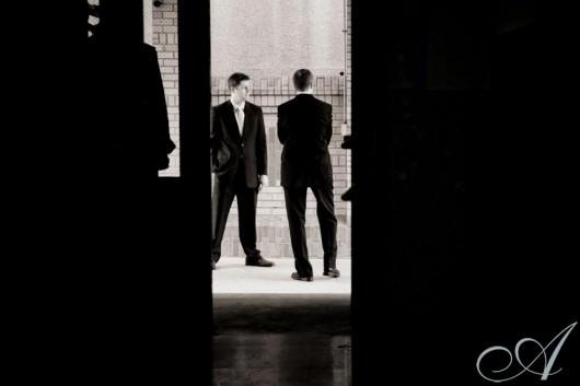 emily-and-erik-wedding-Erik awaits Emily in St. Louis' Mad Art Gallery