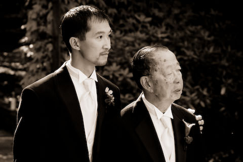 Dave and his dad walking down the aisle at our wedding