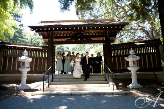 krista-and-andy-wedding-bride and groom with wedding party at hakone gardens in saratoga ca