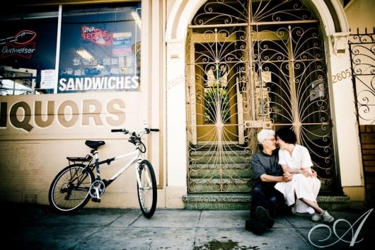 liz-and-jay-couples-portrait-couple hanging out in the mission district of san francisco california- photo shoot