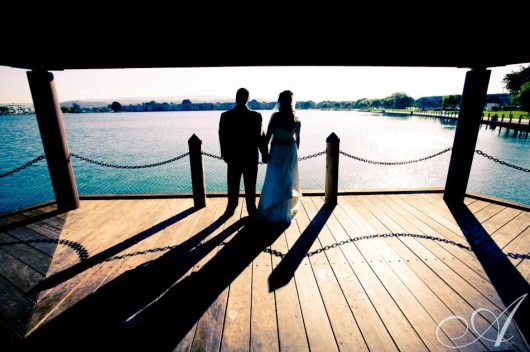 elsa-and-tim-wedding-bride and groom in foster city- gazebo overlooking water- san francisco bay area, california