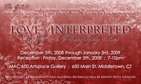 love interpreted- women's photography gallery show- middleton, ct (near hartford)