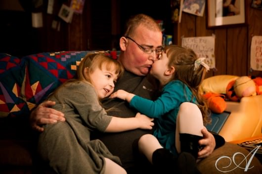 dad with two daughters- family portrait at christmas- boston suburbs