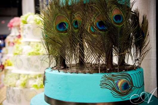 wedding detail of blue cake with peacock feathers- south boston