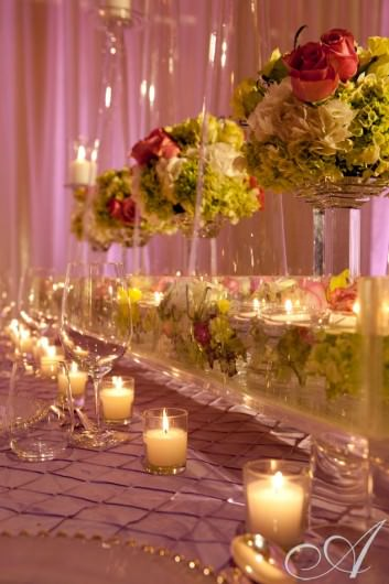 David was invited to create wedding reception table displays