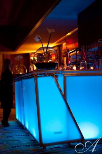 blue lighted bar- Westchester Ritz Carlton Hotel- White Plains, New York