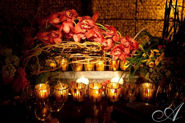 pink orchids with willow branches and candles centerpiece at Westchester Ritz Carlton Wedding Showcase- NY