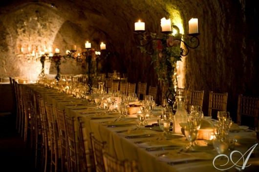 allison_adam hans fahden wedding reception- wine cave- long table