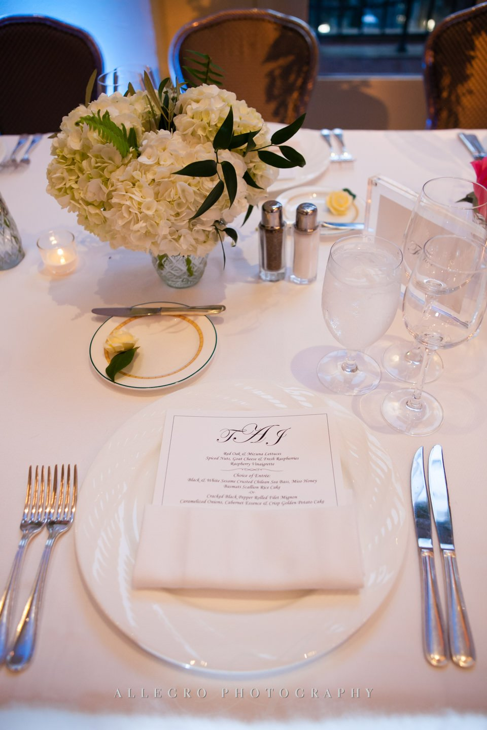 table set up with menu- photo by allegro photography