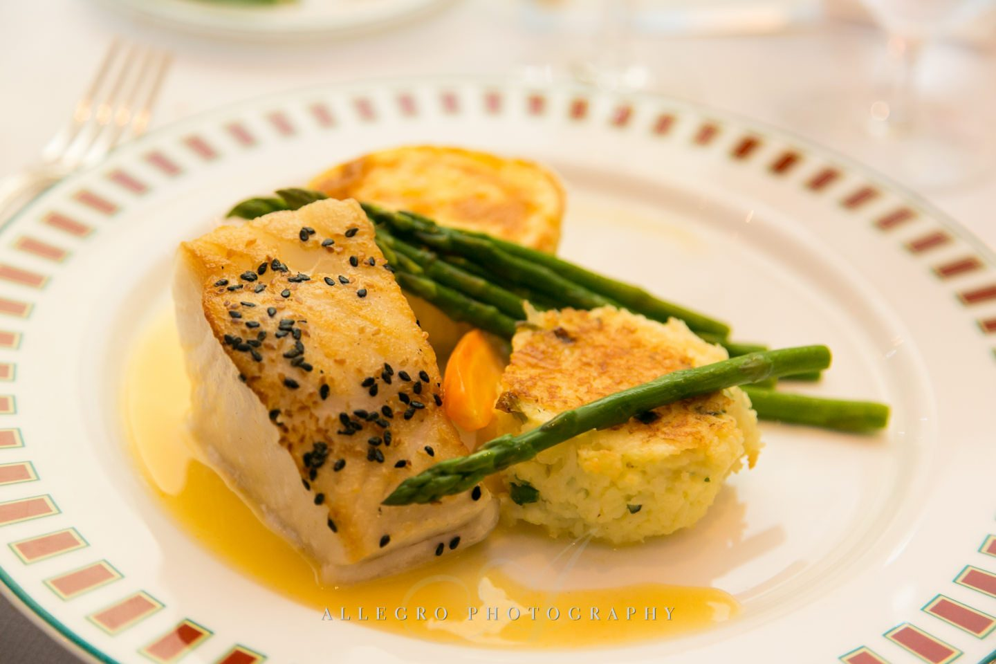 seafood dinner option with asparagus- photo by allegro photography