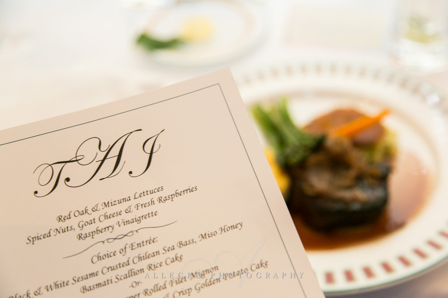 Menu with steak option- photo by allegro photography