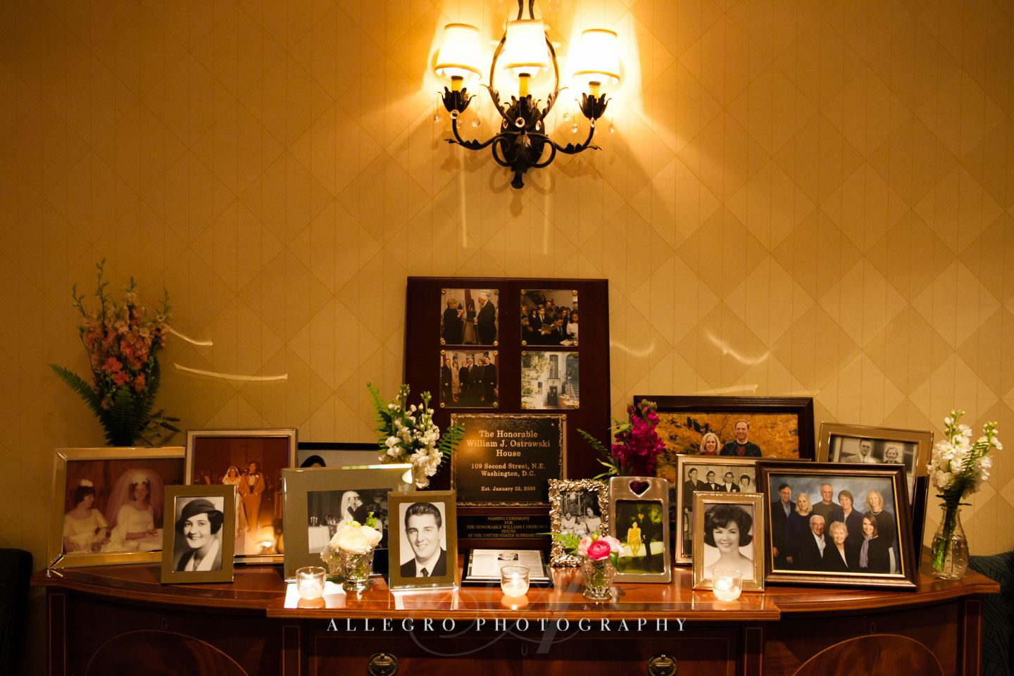 Memories of weddings past table in the lobby of wharf room- photo by allegro photography