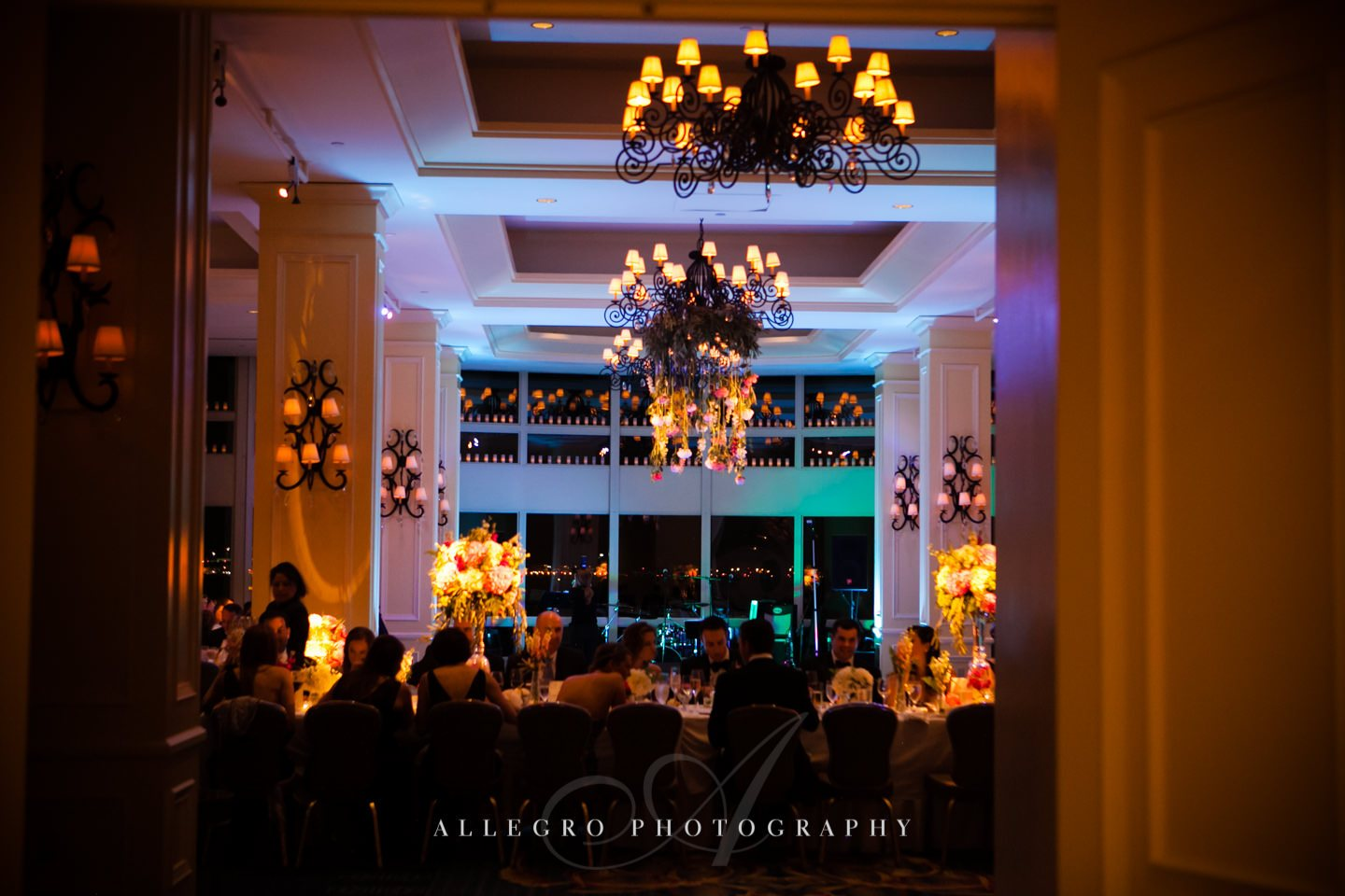 wharf room at night with uplighting- photo by allegro photography