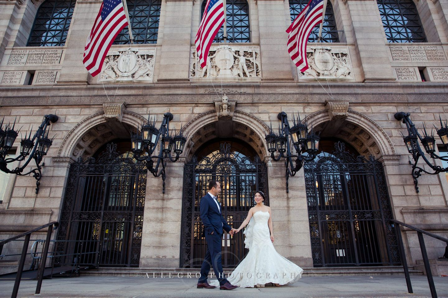 Couple Portraits at the Boston Public Library - photo by Allegro Photography