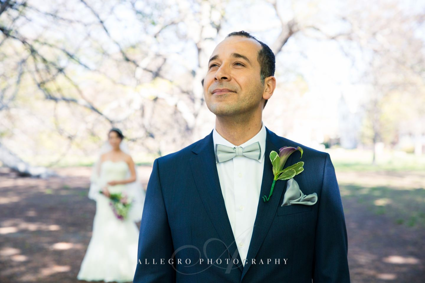 groom wait for first look in brookline ma - photo by Allegro Photography