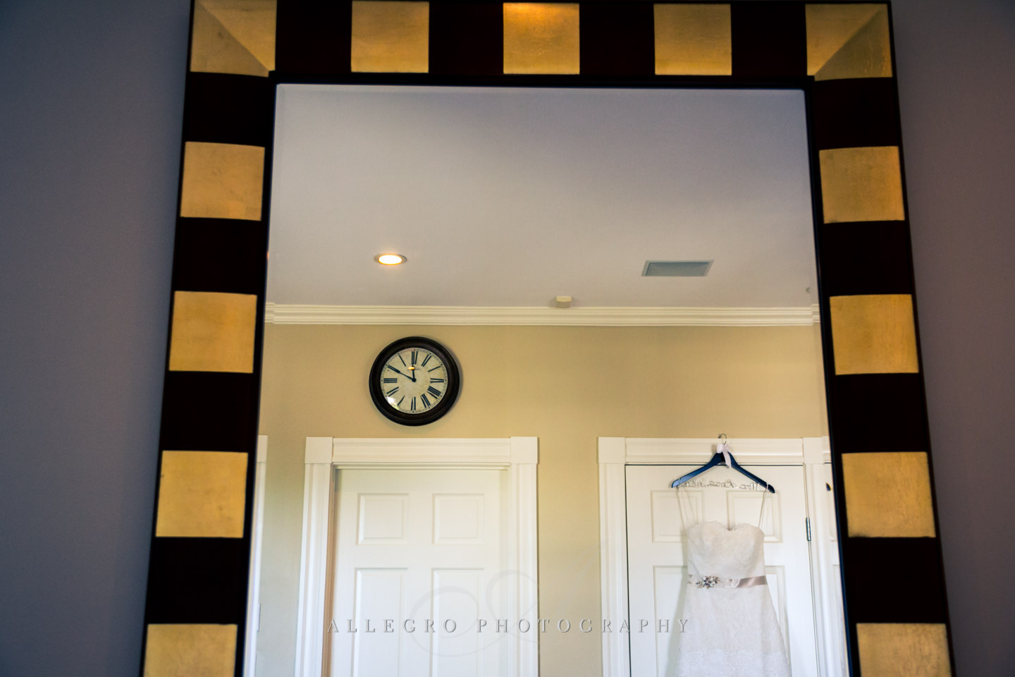 wedding gown reflection with time of day - photo by Allegro Photography
