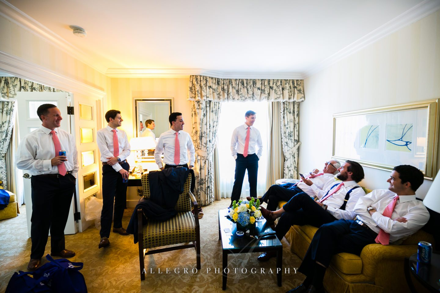 groomsmen in pink ties- four seasons hotel - photo by Allegro Photography