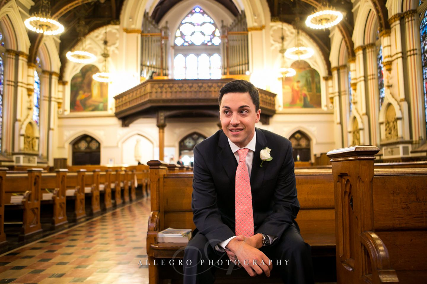 groom waiting at st. mary's st catherine church in charlestown - photo by Allegro Photography