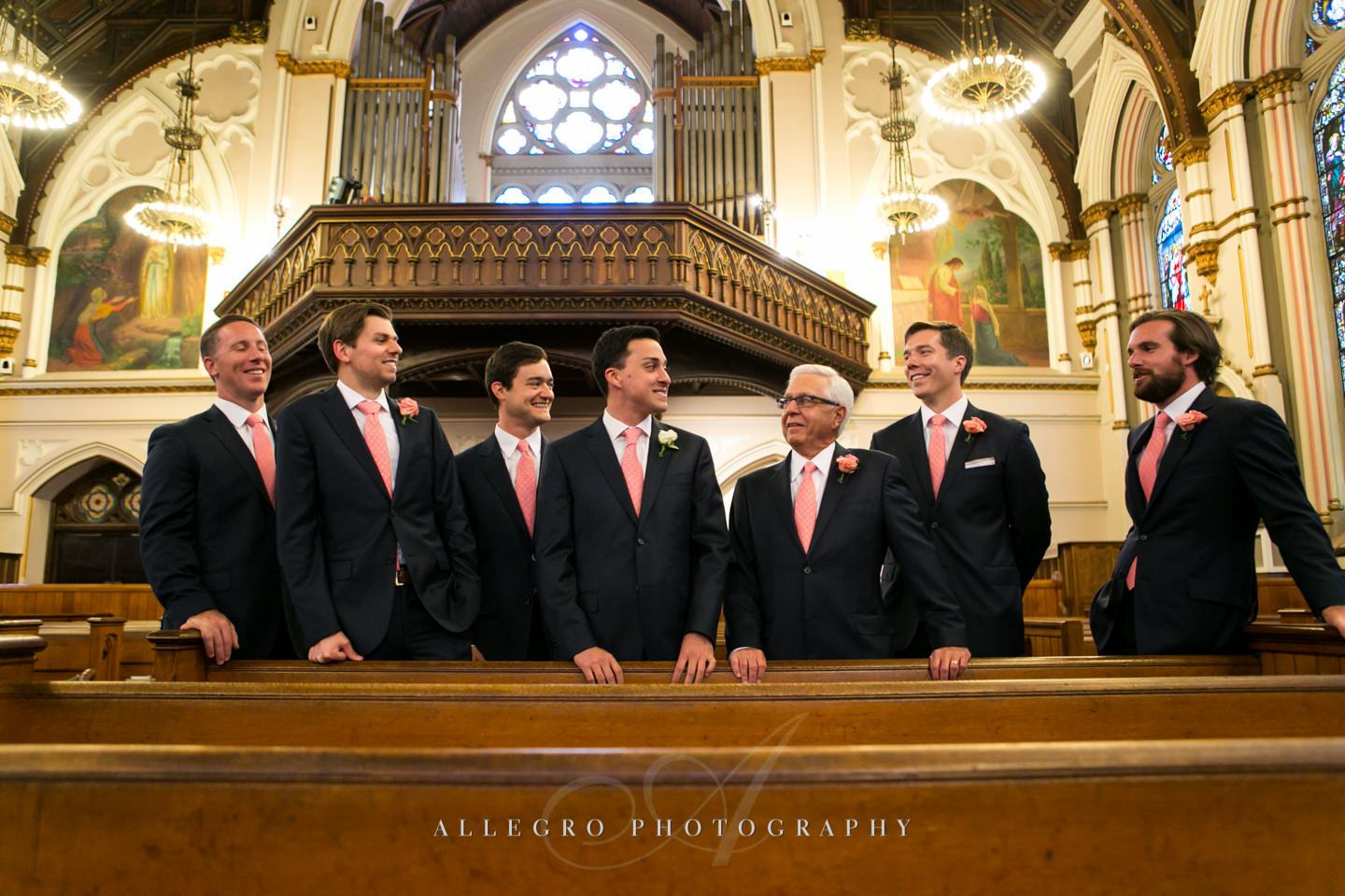 groomsmen portrait at church - photo by Allegro Photography