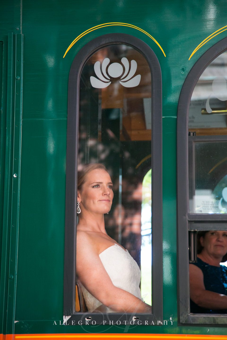 a trolley ride to the boston church - photo by Allegro Photography