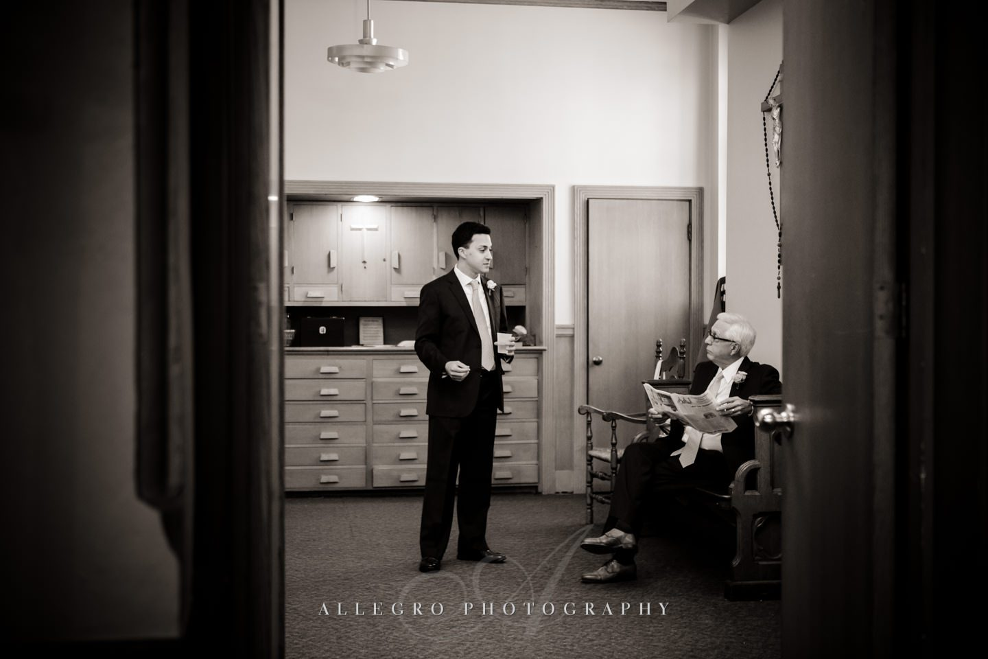 groom waiting for ceremony with his father - photo by Allegro Photography