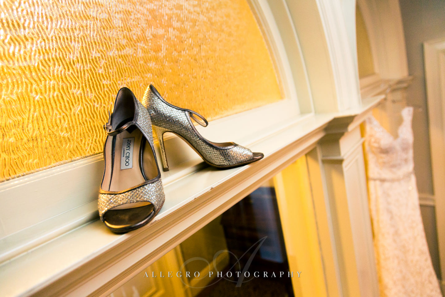 jimmy choo bridal shoes at oceancliff -photo by Allegro Photography