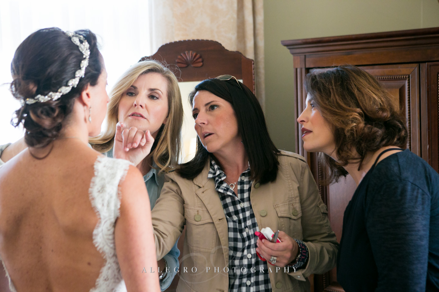 all the friends help the bride -photo by Allegro Photography