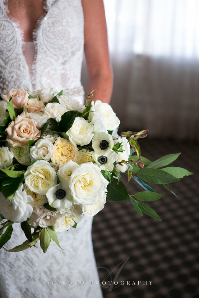 stunning wedding floral bouquet at oceancliff -photo by Allegro Photography