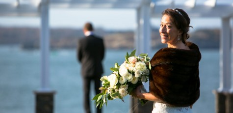 bride ready for first look at oceanview wedding -photo by Allegro Photography