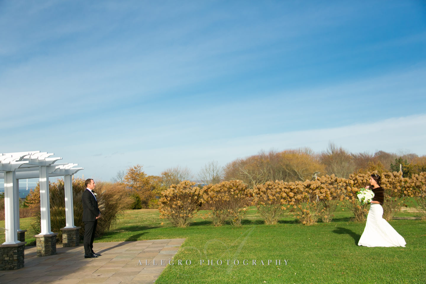 first look between bride and groom- epic scene- -photo by Allegro Photography