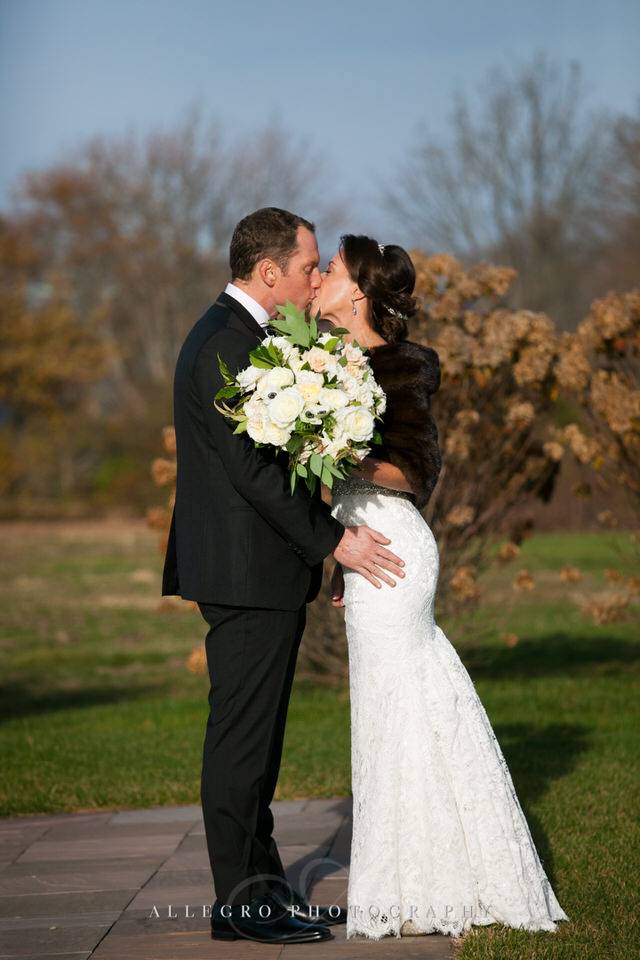 first look and first kiss on wedding day -photo by Allegro Photography