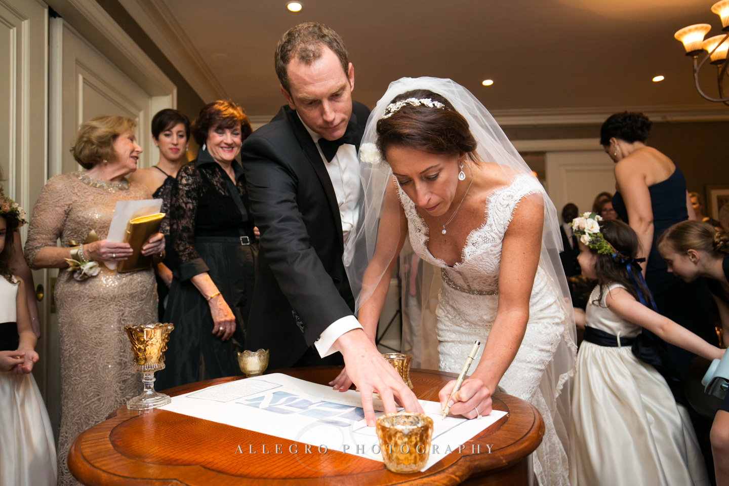signing the ketubah at oceancliff -photo by Allegro Photography