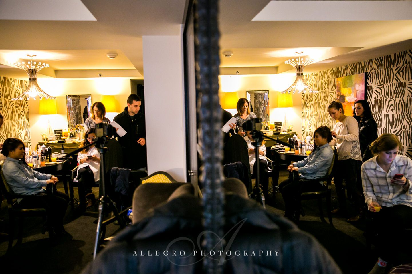getting ready for the wedding day at hotel nine zero  -photo by allegro photography