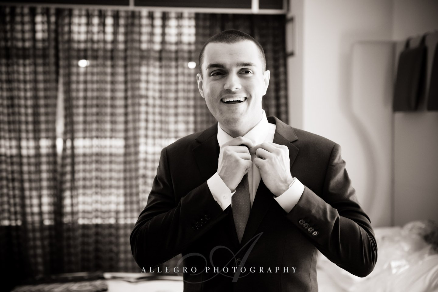 groom prep wedding day - hotel nine zero  -photo by allegro photography