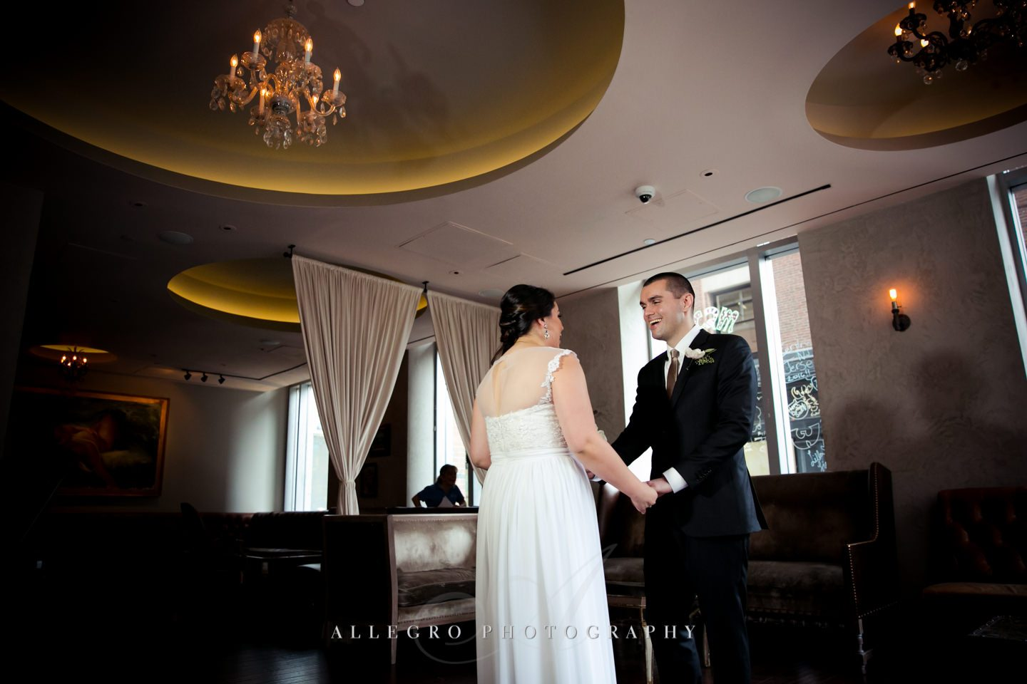 checking her dress out -photo by Allegro Photography