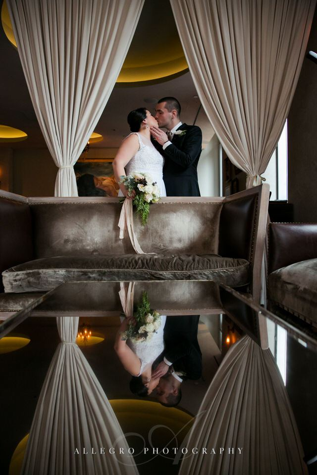 reflection portrait of bride and groom  -photo by Allegro Photography
