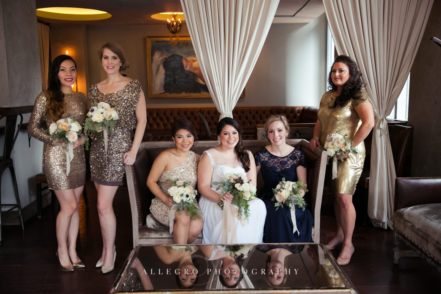the girls (reflection) with lots of sparkle for this winter wedding  -photo by Allegro Photography