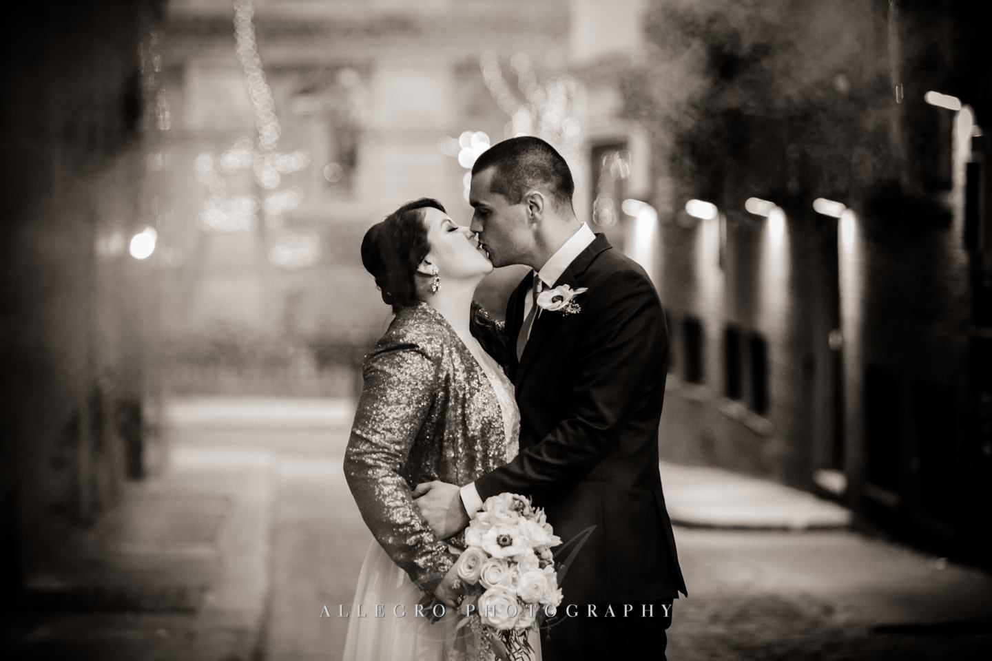 smokey alley way kiss in downtown boston -photo by Allegro Photography
