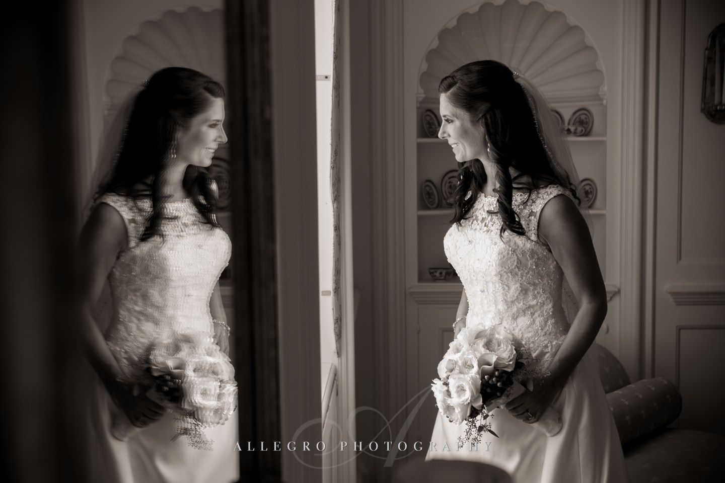 a portrait and a reflection of the bride- photo by Allegro Photography