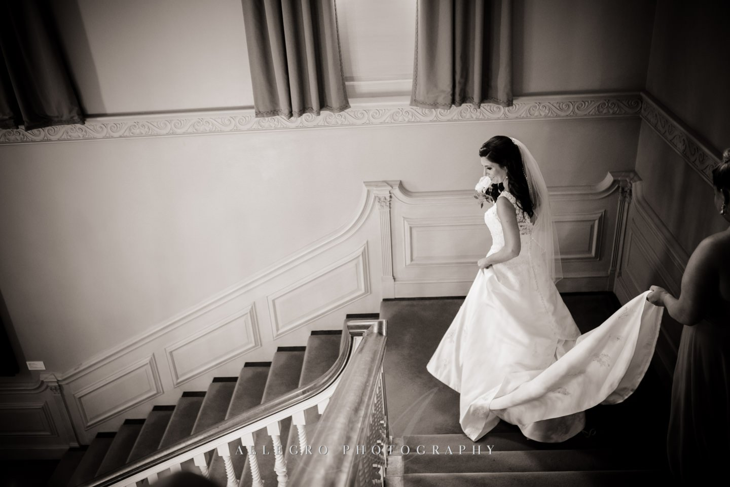 grand staircase bride- photo by Allegro Photography