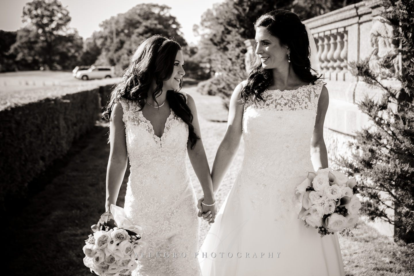 happy brides after first look- same sex wedding - photo by Allegro Photography