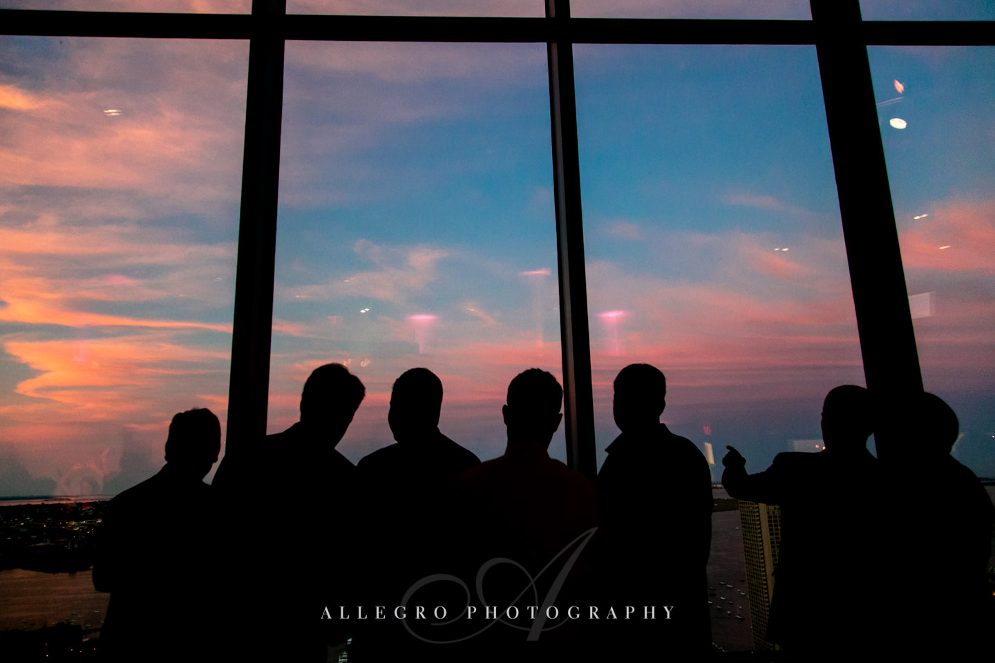 summer wedding sunset view at the state room longwood events venue