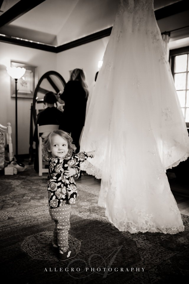 wedding gown and flower girl