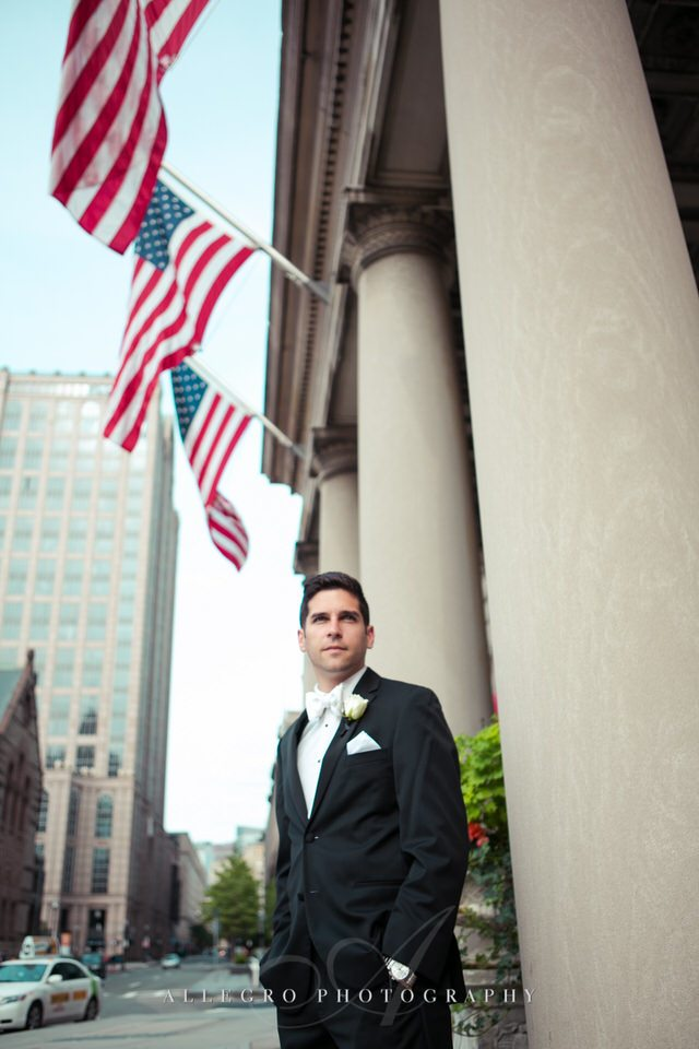 groom portrait outside copley plaza - photo by Allegro Photography