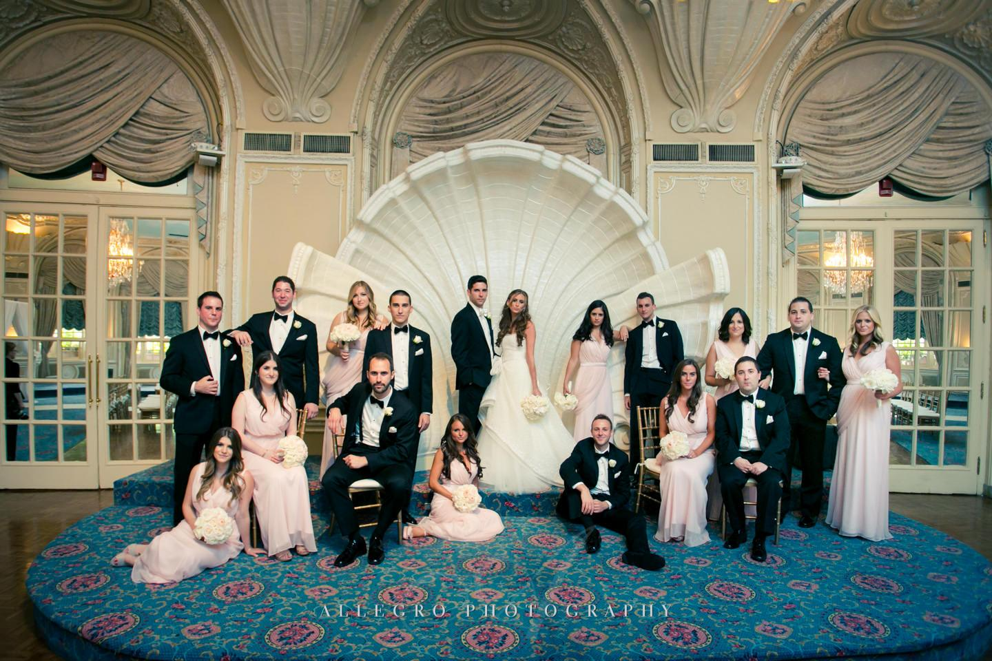 vanity fair-vogue wedding party portrait fairmont copley plaza band shell - photo by Allegro Photography