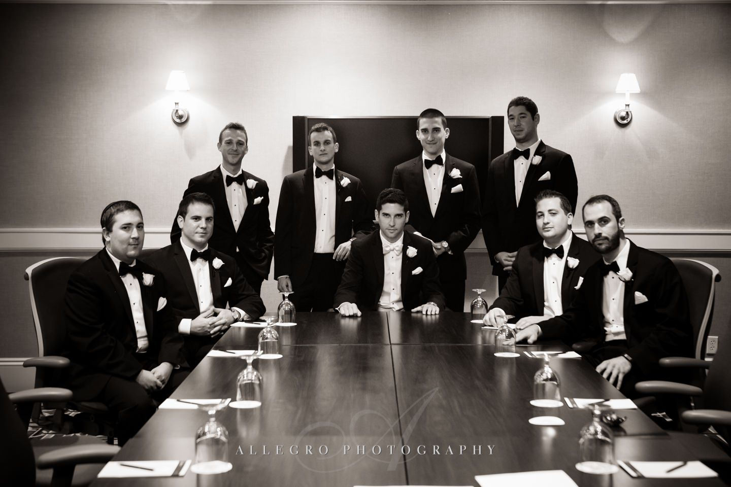 groomsmen board room portrait copley plaza hotel - photo by Allegro Photography