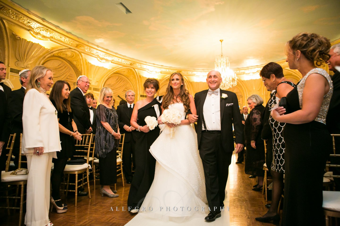 bride with parents- jewish wedding ceremony entrance- boston - photo by allegro photography