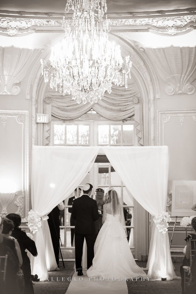 oval room fairmont copley wedding ceremony- huppah- photo by allegro photography